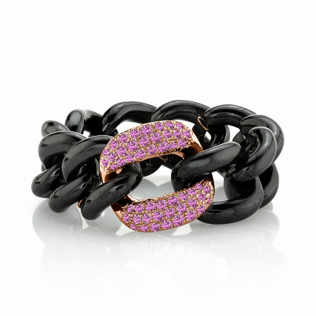 PINK SAPPHIRE & BLACK CERAMIC MEDIUM LINK RING