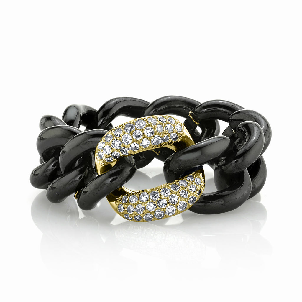 READY TO SHIP WHITE DIAMOND & BLACK CERAMIC MEDIUM LINK RING