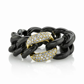 WHITE DIAMOND & BLACK CERAMIC MEDIUM LINK RING