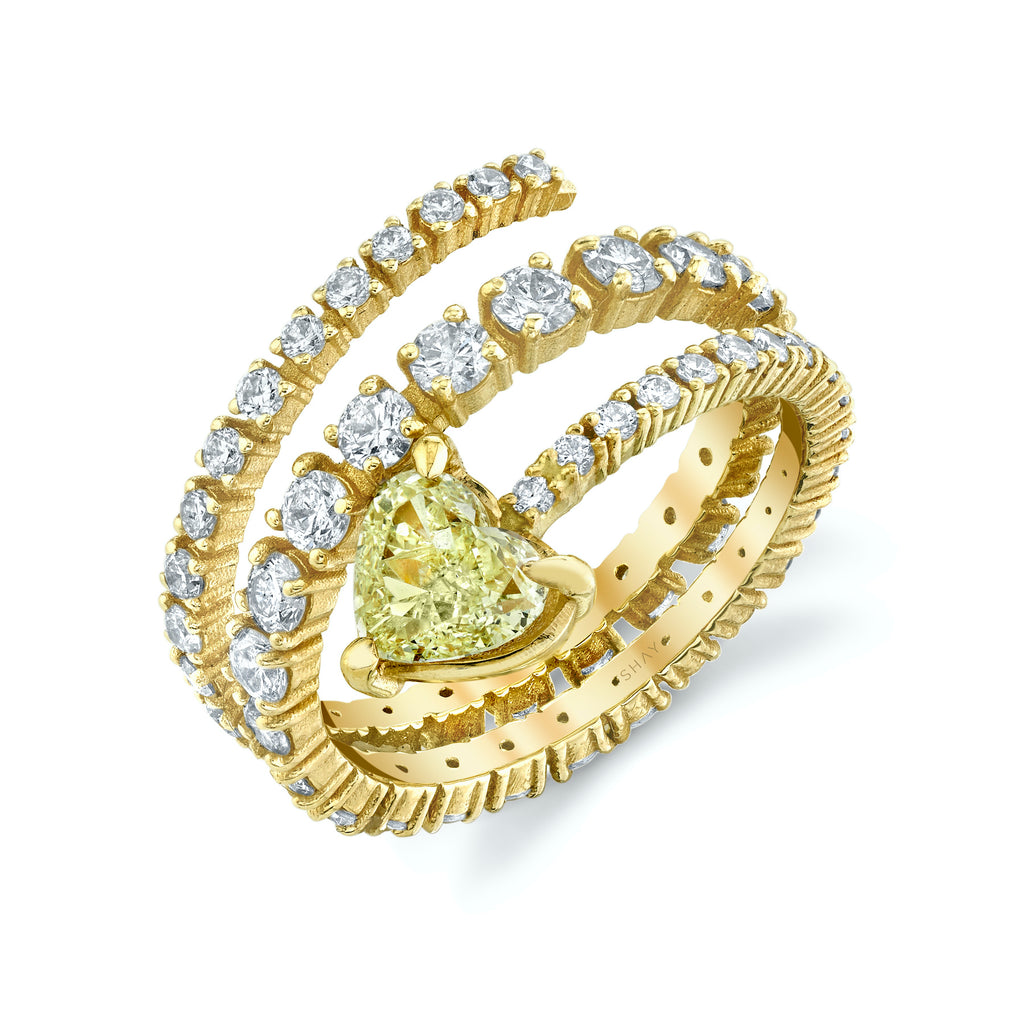 FANCY YELLOW DIAMOND HEART SPIRAL RING
