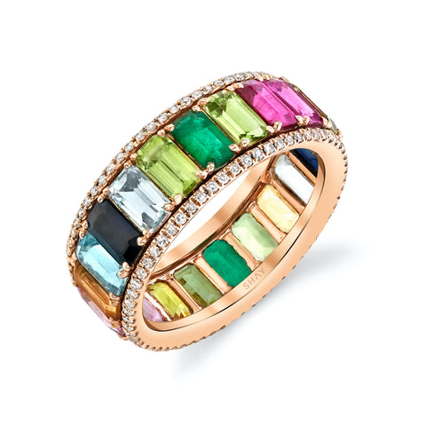 3 SIDED RING W/ RAINBOW INFINITY CHAIN