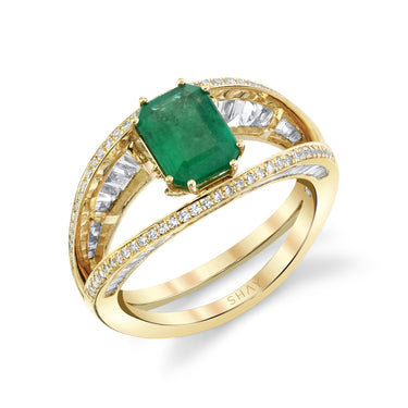 OPEN EMERALD HALO RING
