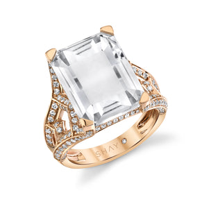 WHITE TOPAZ DOUBLE PORTRAIT RING