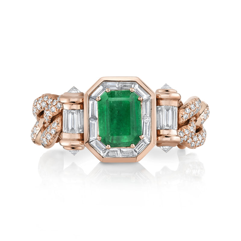 EMERALD HALO LINK RING