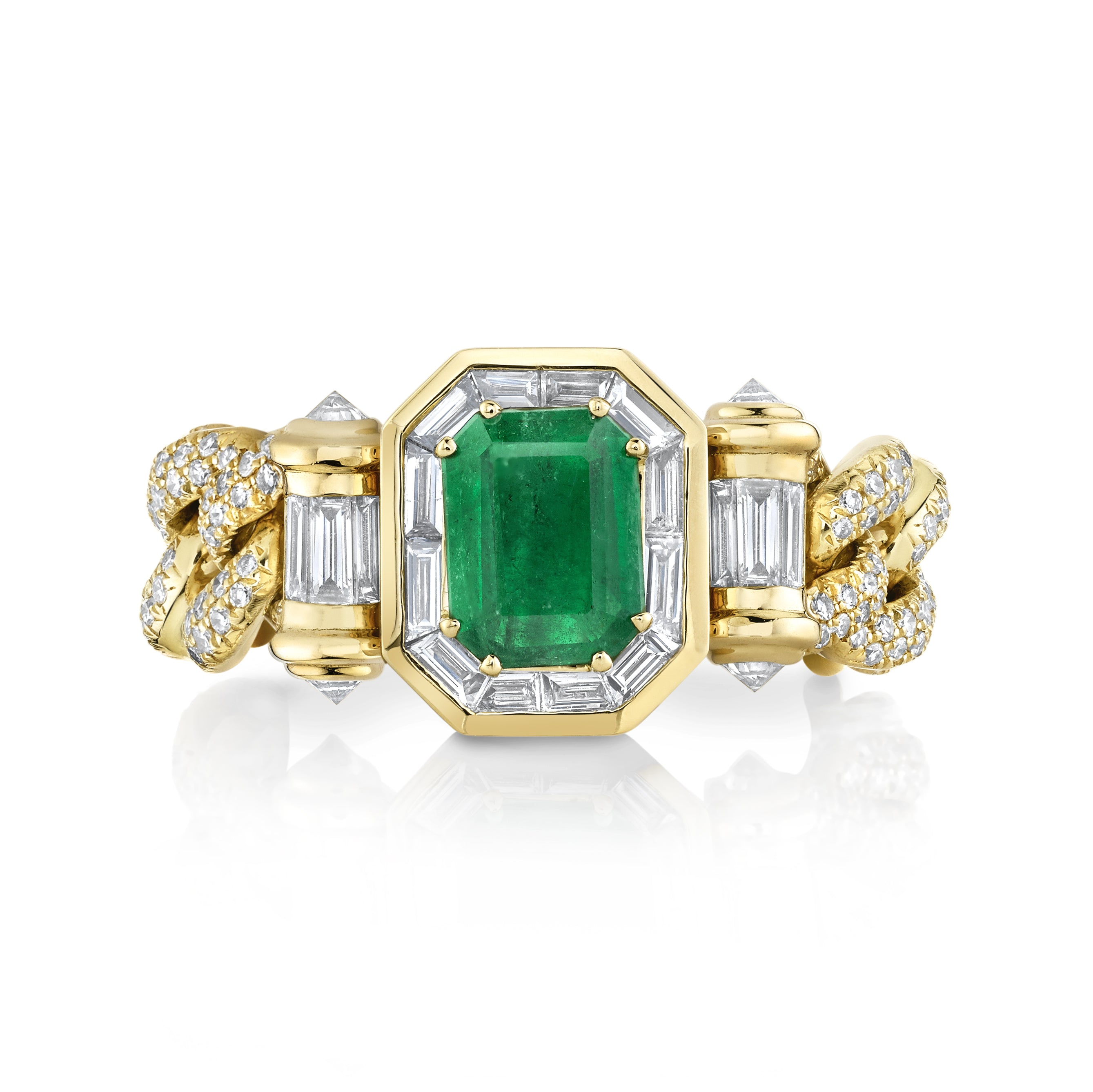 READY TO SHIP EMERALD HALO LINK RING
