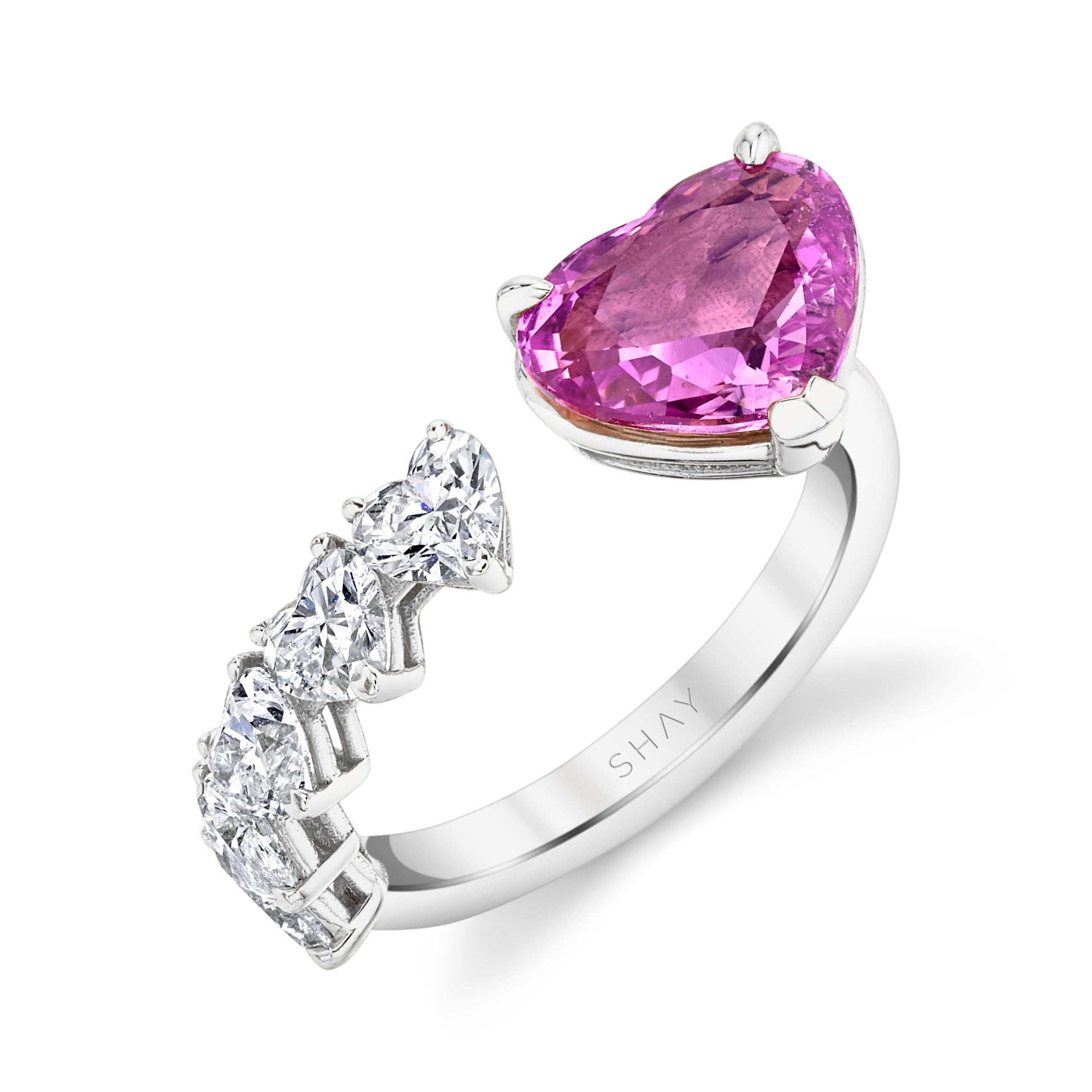 FLOATING PINK SAPPHIRE HEART & DIAMOND RING
