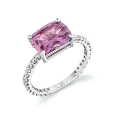 PINK SAPPHIRE EMERALD CUT PINKY RING