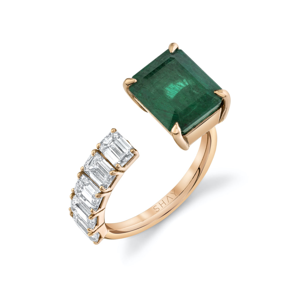 READY TO SHIP FLOATING EMERALD & DIAMOND RING