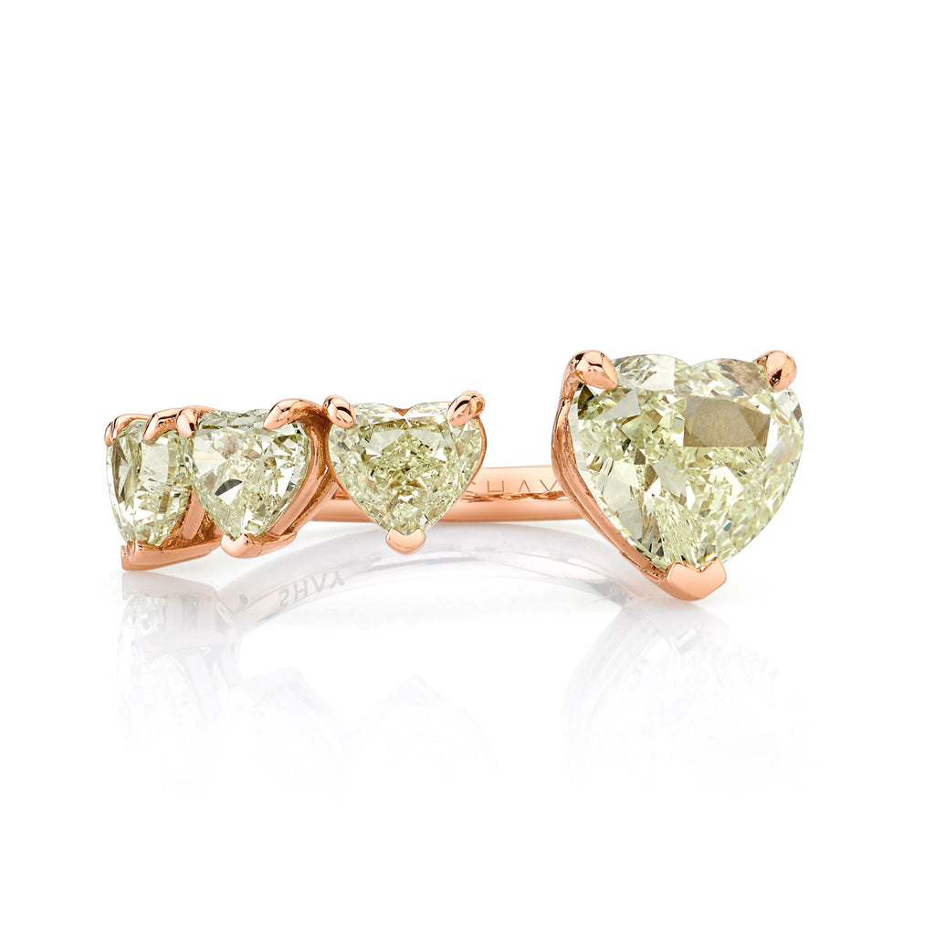 YELLOW DIAMOND FLOATING HEART & DIAMOND RING