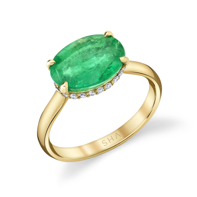 READY TO SHIP EMERALD SOLITAIRE OVAL RING