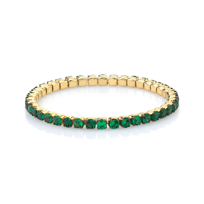 GREEN GARNET SINGLE THREAD RING