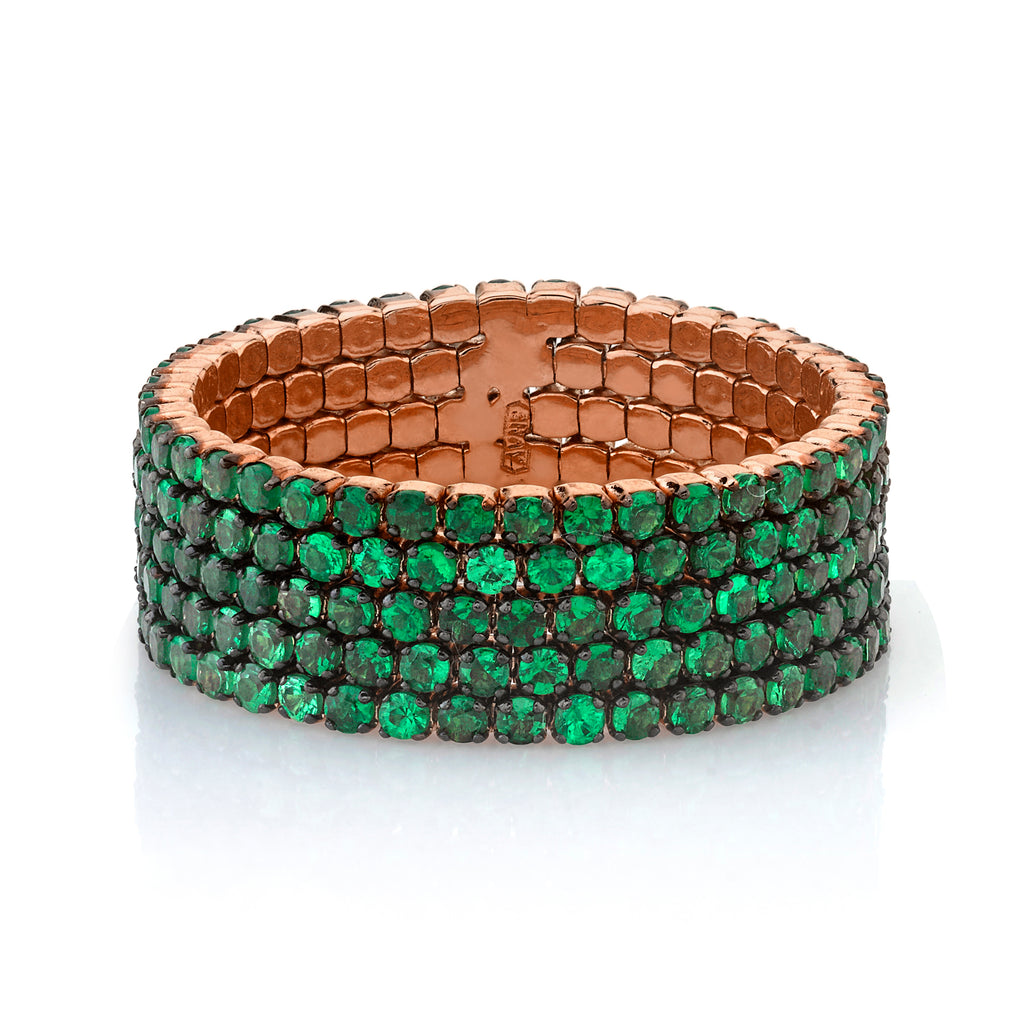 GREEN GARNET 5 THREAD STACK RING