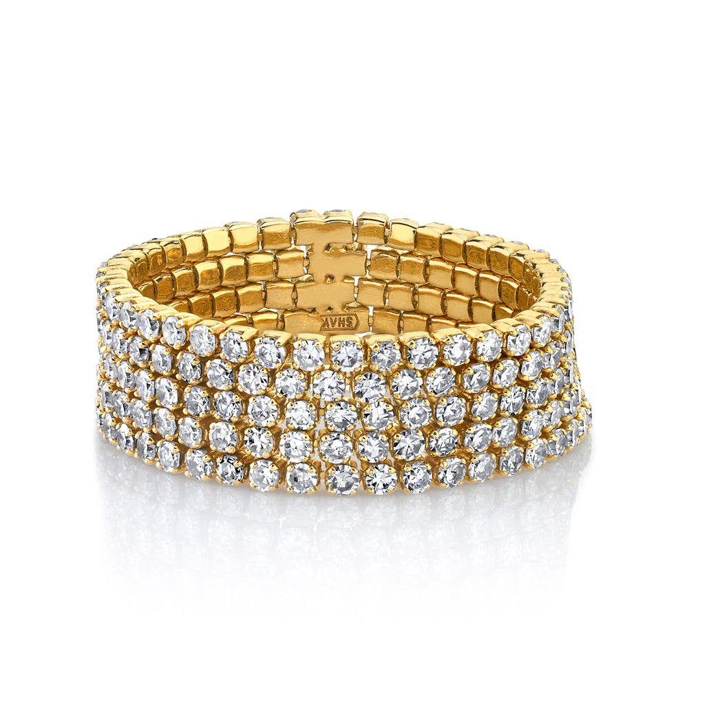 READY TO SHIP DIAMOND 5 THREAD STACK RING