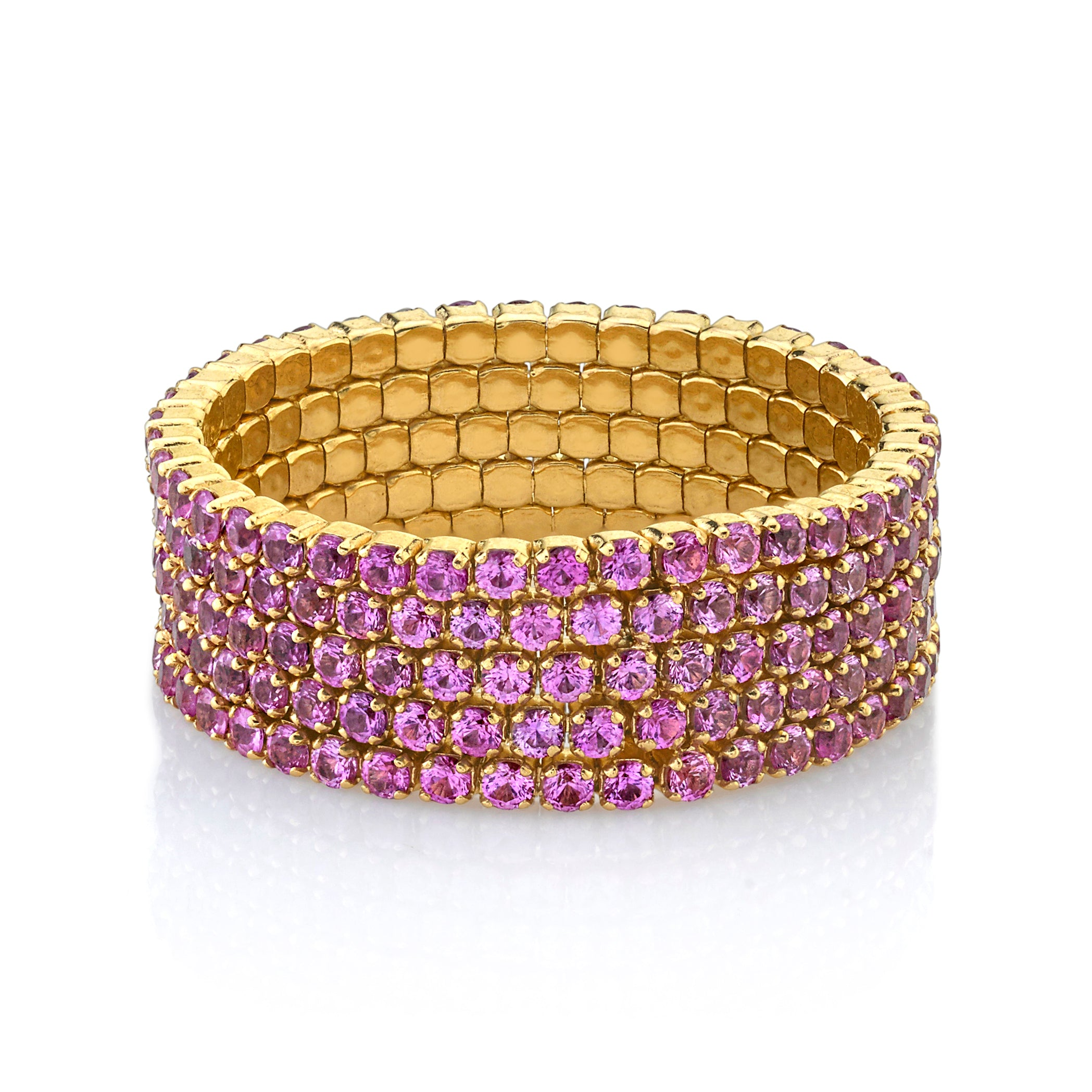 READY TO SHIP PINK SAPPHIRE 5 THREAD STACK RING