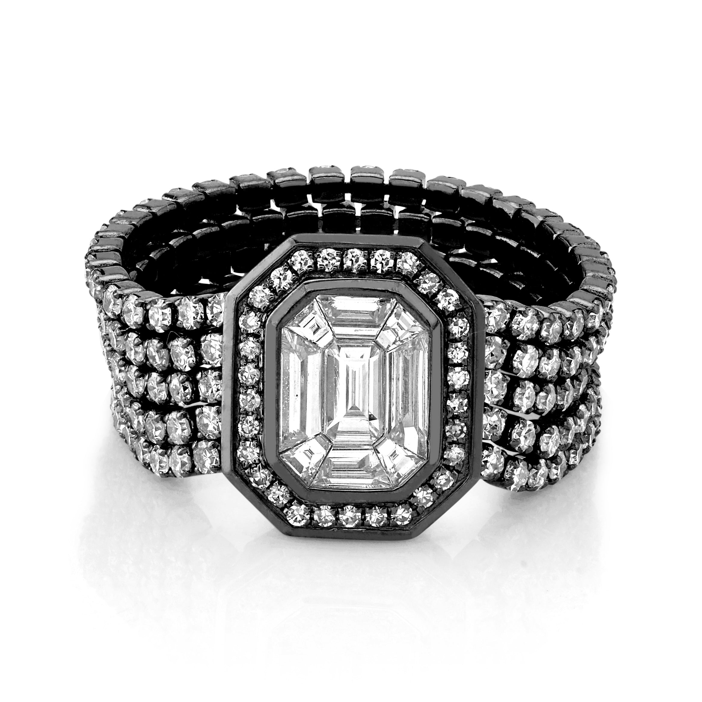 DIAMOND 5 THREAD ILLUSION STACK RING