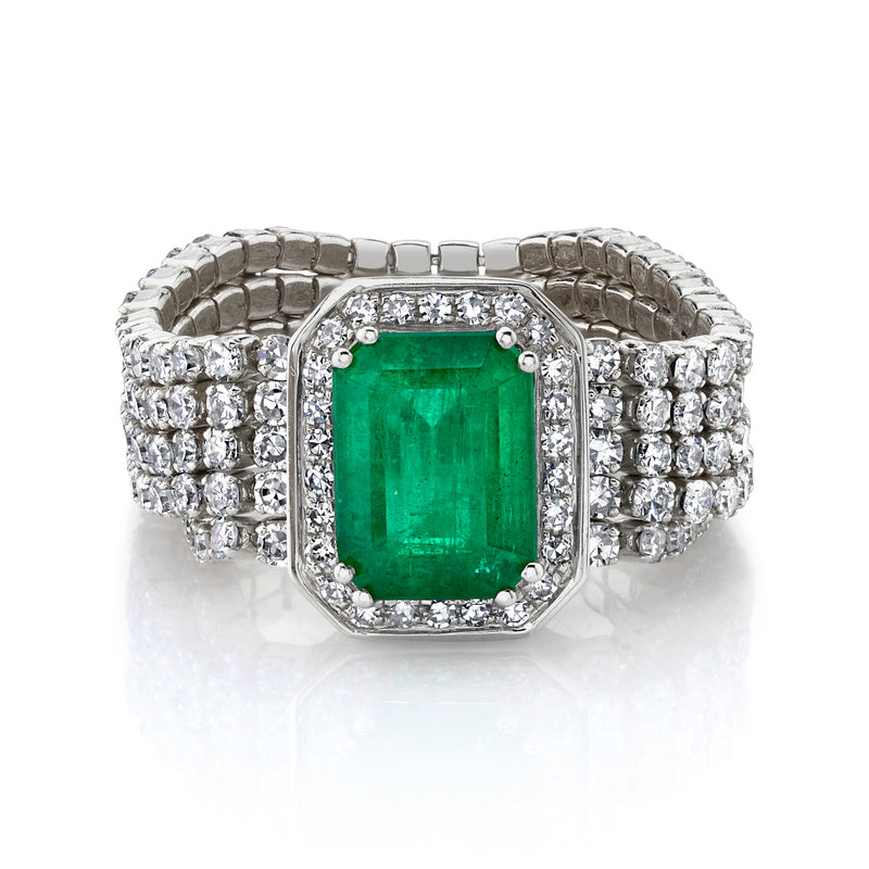 DIAMOND & EMERALD 5 THREAD ILLUSION STACK RING