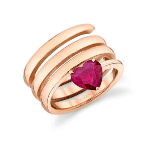 SOLID GOLD RUBY HEART SPIRAL PINKY RING