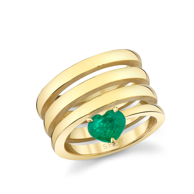 SOLID GOLD EMERALD SPIRAL HEART PINKY RING