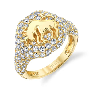 READY TO SHIP DIAMOND PAVE ZODIAC PINKY RING