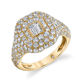 READY TO SHIP DIAMOND BAGUETTE PAVE PINKY RING