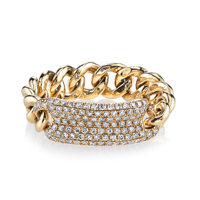 READY TO SHIP DIAMOND PAVE ID MINI LINK RING