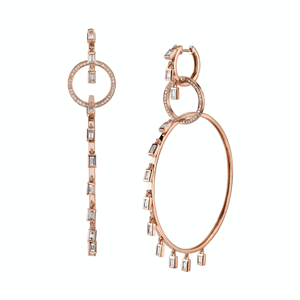 3 TIER BAGUETTE DANGLE HOOPS