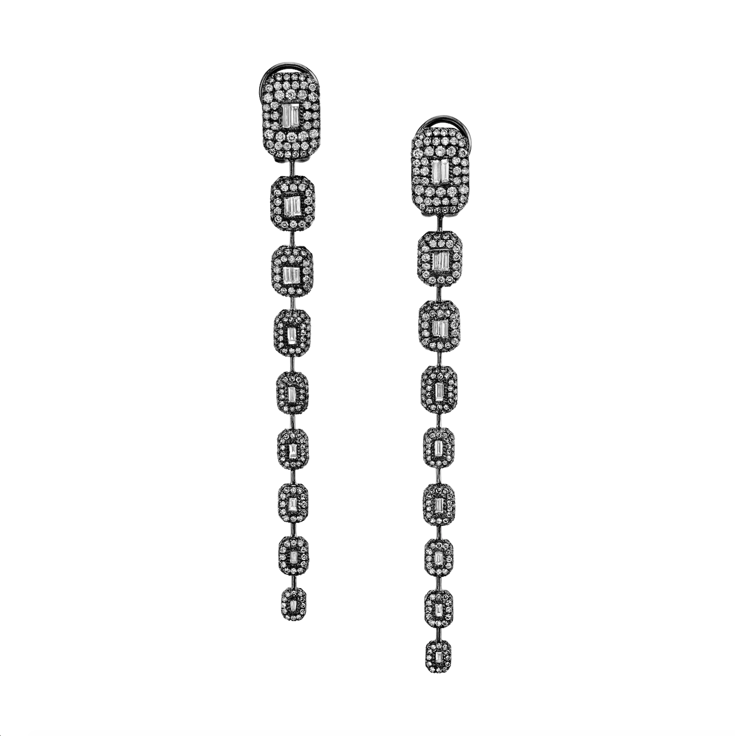 DIAMOND 9 TIER BAGUETTE DROP EARRINGS