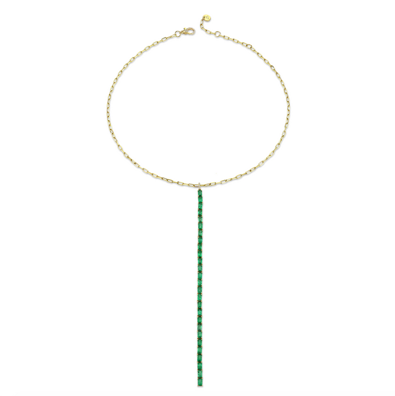 EMERALD STICK Y DROP NECKLACE
