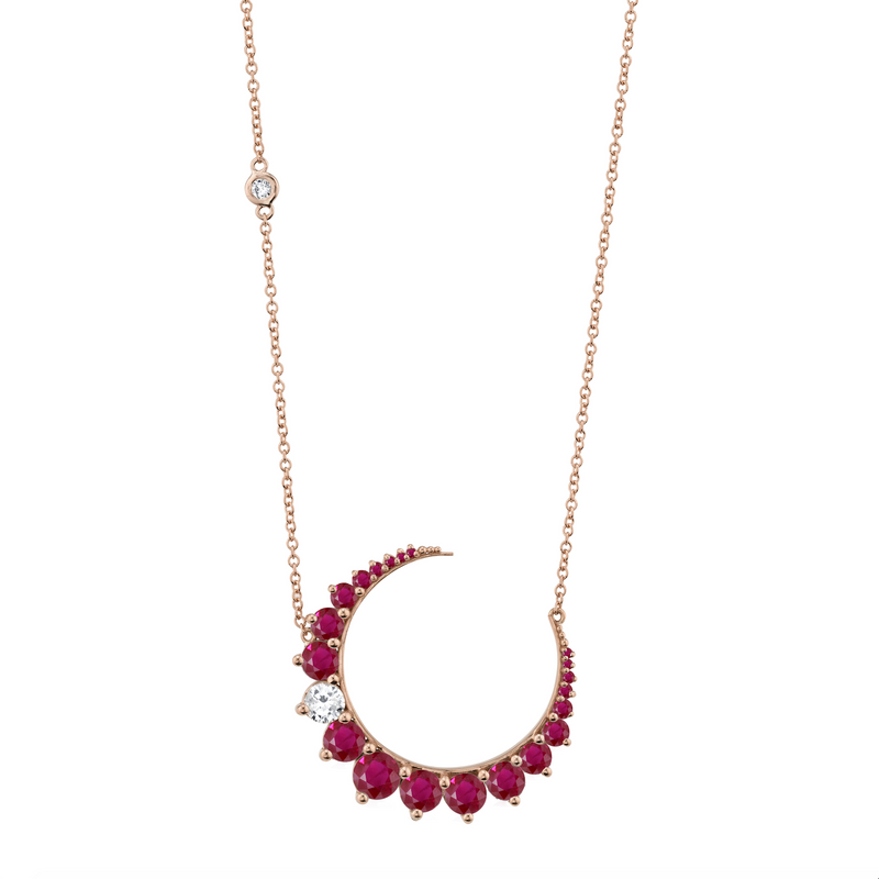 RUBY & DIAMOND CRESCENT MOON NECKLACE