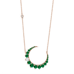DASHING DIAMOND & EMERALD CRESCENT MOON NECKLACE