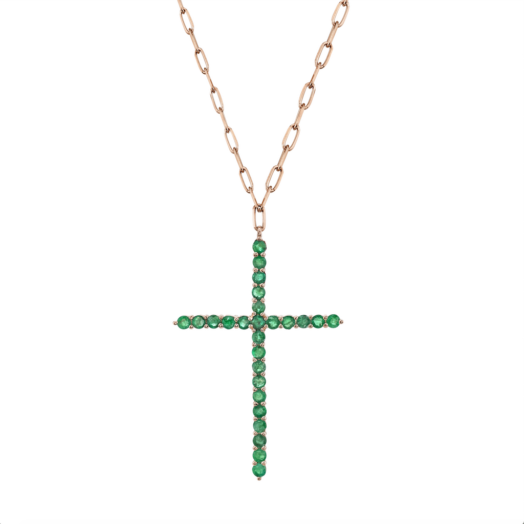LARGE GEMSTONE CROSS PENDANT NECKLACE