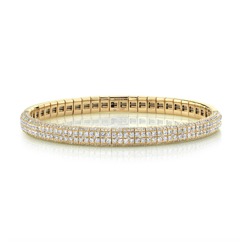 Double Row Pave Stretch Bangle