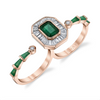 EMERALD & DIAMOND DOUBLE FINGER RING