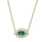 EMERALD BAGUETTE EVIL EYE WITH GEMSTONE CENTER
