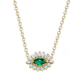 EMERALD & DIAMOND EVIL EYE NECKLACE