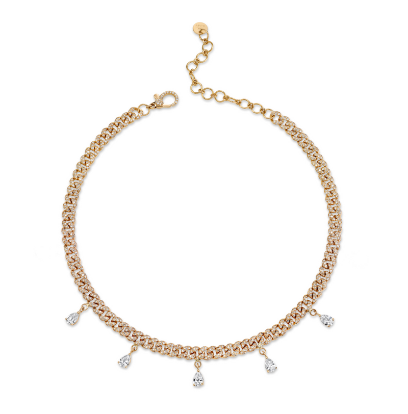 DIAMOND 5 PEAR DROP MINI LINK NECKLACE