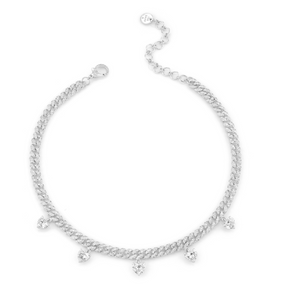 DIAMOND 5 HEART DROP MINI PAVE LINK NECKLACE