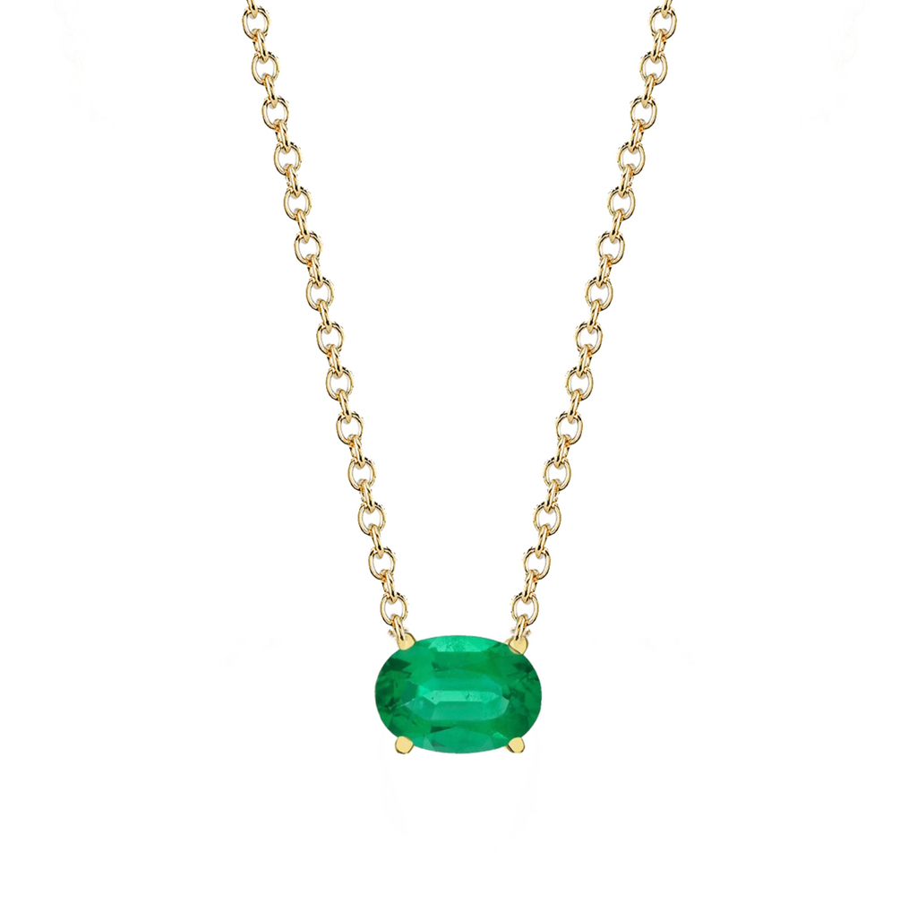 EMERALD OVAL PENDANT NECKLACE
