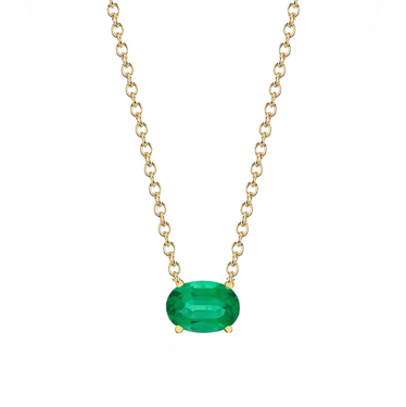 OVAL EMERALD PENDANT NECKLACE