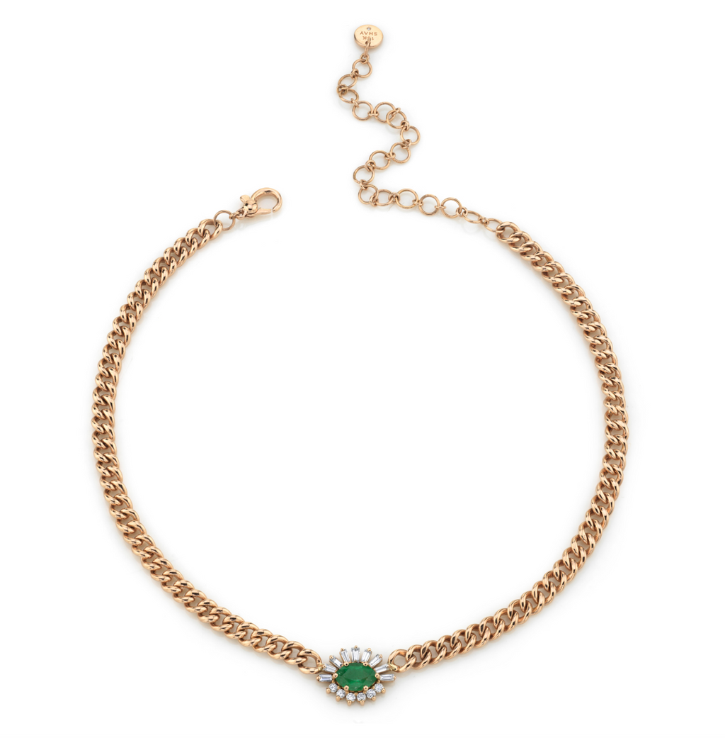 GOLD MINI LINK EMERALD & DIAMOND EVIL EYE NECKLACE