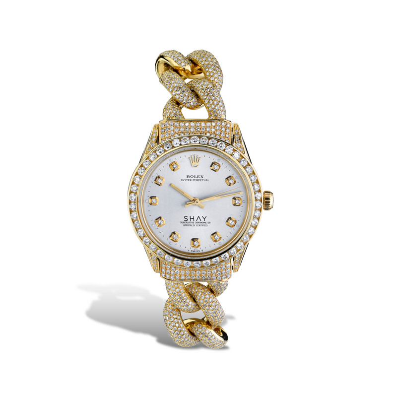 CUSTOM GOLD DIAMOND VINTAGE WATCH