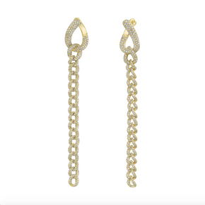 PAVE CHAIN LINK EARRINGS (LONG)