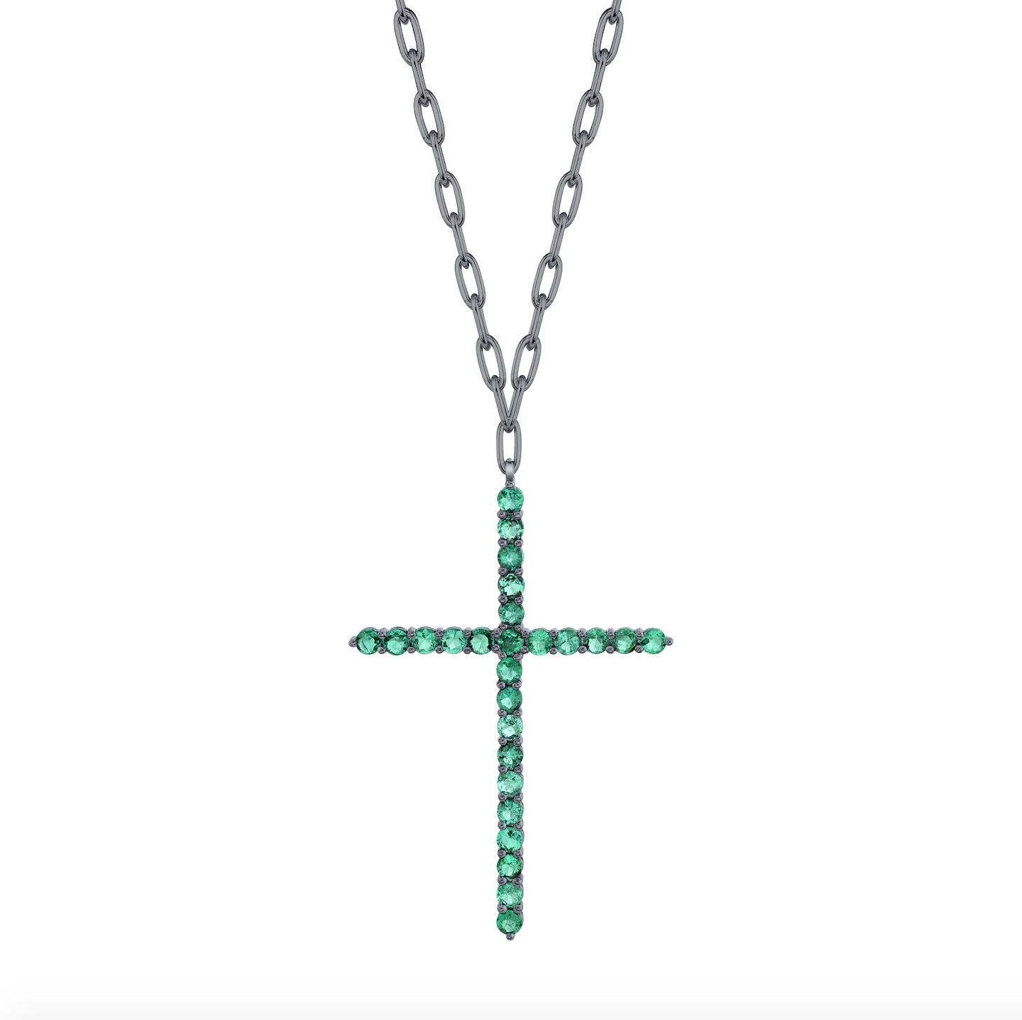 LARGE EMERALD CROSS PENDANT NECKLACE