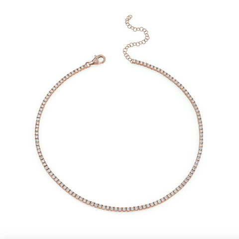 5 HEART DROP PAVE LINK NECKLACE