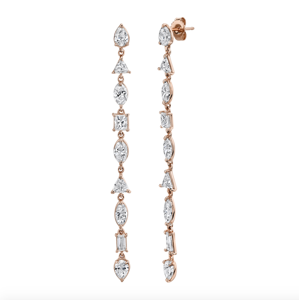 MIXED DIAMOND DROP EARRINGS, 6CTS