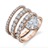 DIAMOND STACKED SPIRAL SOLITAIRE HEART RING