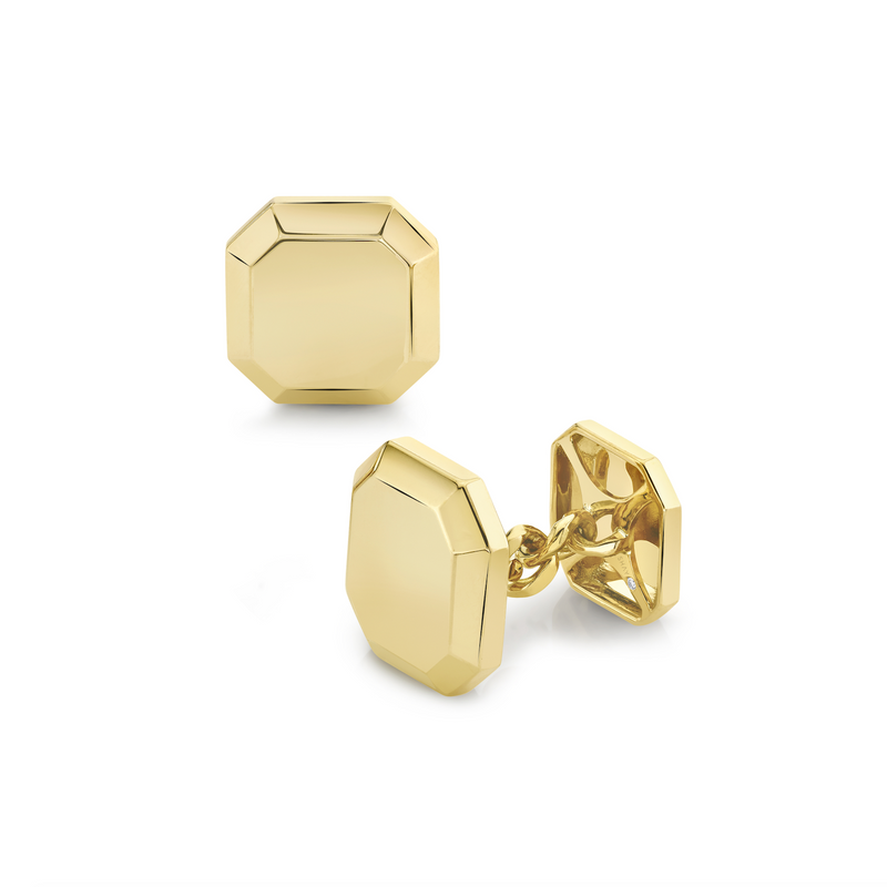 SOLID GOLD OCTAGON CUFF LINKS