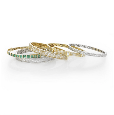 HALF BAGUETTE CUT EMERALD BANGLE