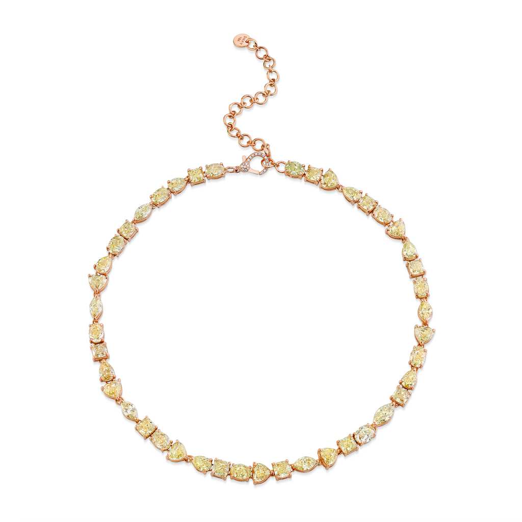 FANCY YELLOW MIXED DIAMOND TENNIS NECKLACE
