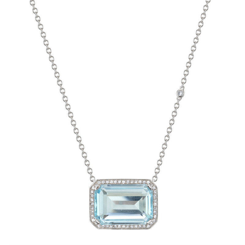 LIGHT BLUE CRYSTAL PORTRAIT PENDANT NECKLACE